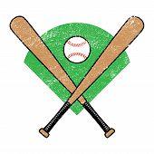 picture of baseball bat  - A vector illustration of a baseball bat and baseball on a green diamond - JPG