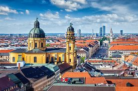 picture of bavaria  - Aerial view of Munich over Theatine Church of St - JPG