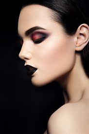 pic of pale skin  - Beauty Fashion Model Girl with Black Make up - JPG