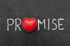 picture of promises  - promise word handwritten on chalkboard with heart symbol instead of O - JPG