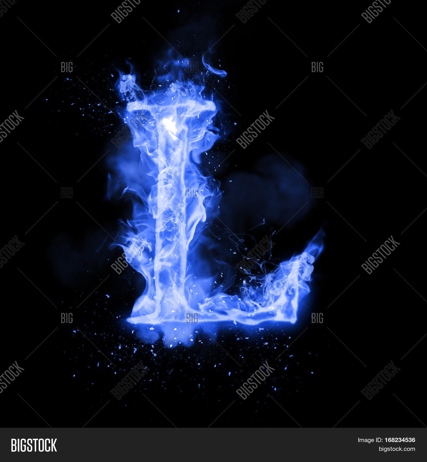 Fire Letter L Burning Blue Flame. Image & Photo | Bigstock