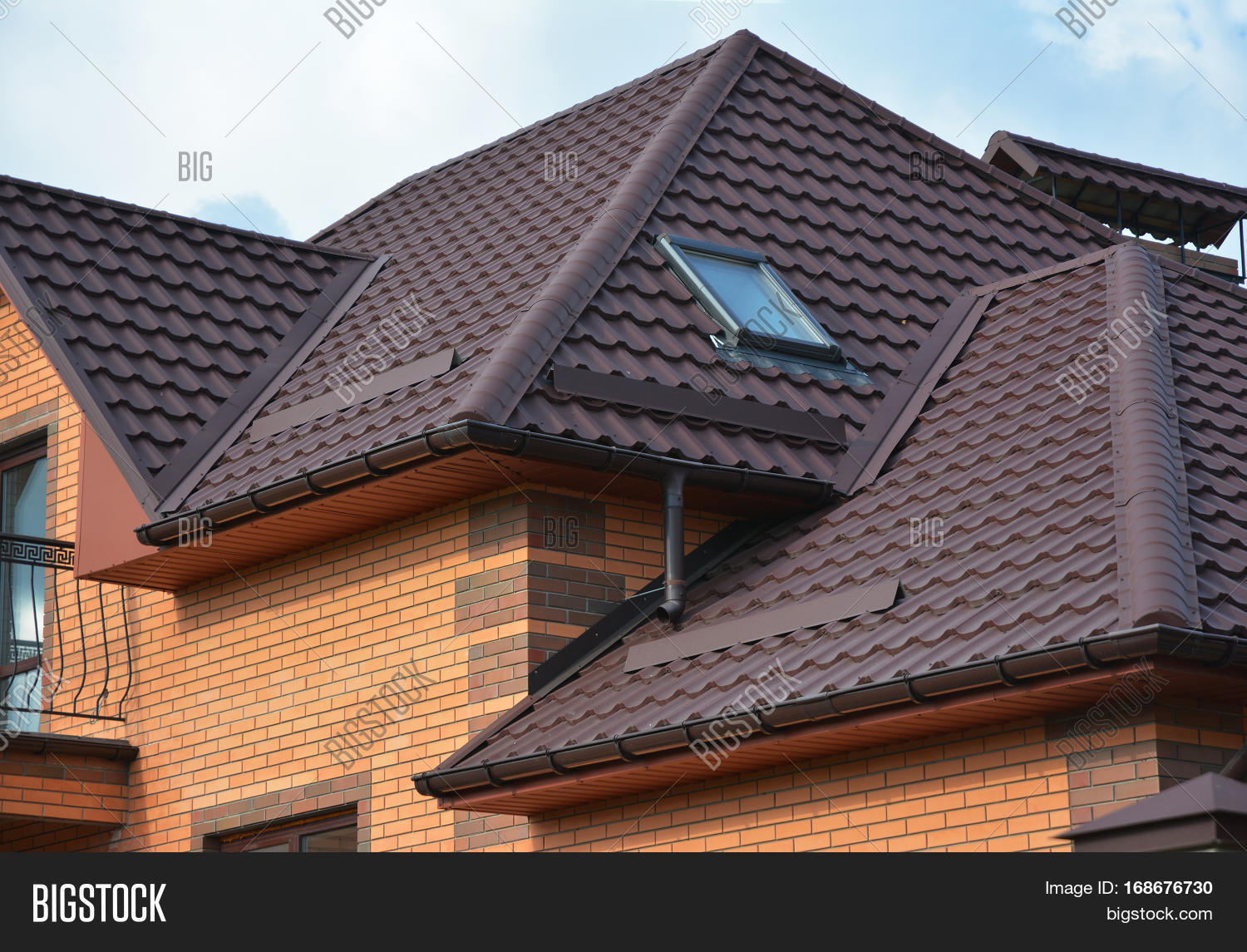 New Roofing Construction With Attic Skylights Rain Gutter System Roof  Windows And Roof Protection From Snow