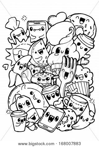 dining doodles breakfast lunch dinner food coloring pages for kids - Food Coloring Book