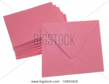 Stack Of Pink Invitation Envelopes