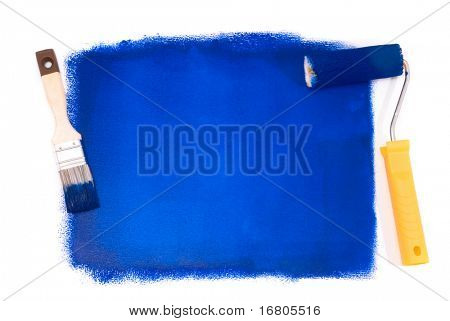 Blue paintroller and brush