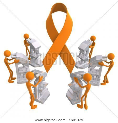 Cause Awareness Ribbon Microscope Medical Research Concept