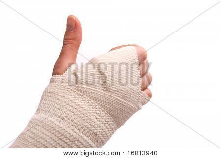 White medicine bandage on human injury hand. Studio isolated.