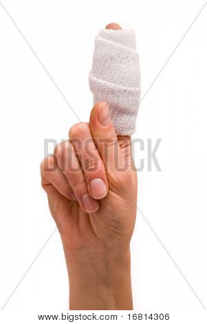 White medicine bandage on human injury hand finger