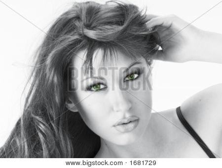 Beautiful Woman In Monochrome With Green Eyes 2
