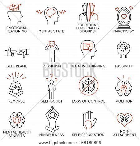 Vector set of 16 linear icons related to mindfulness awareness consciousness and mental conditions. Mono line pictograms and infographics design elements - part 1