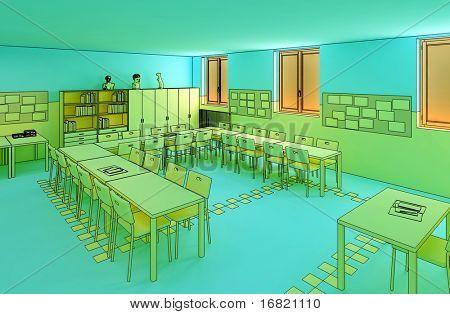 hi res image of indoor, school cartoon style
