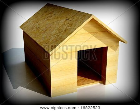 fine 3d image computer generate of dog house shelter