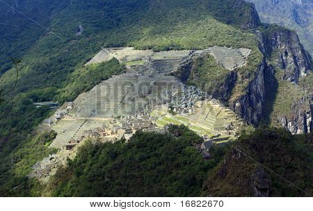 aereal view of machu picchu