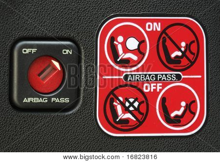 close up image of airbag stickers of modern car