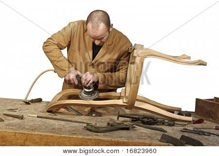 craftsman at work isolated on white background
