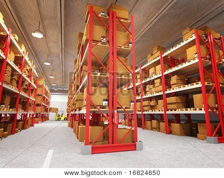 3d image of classic warehouse and several box