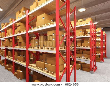 indoor image of classic warehouse building 3d background