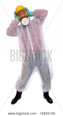 Worried worker in protective suit for bio-hazard on white background.