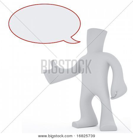 3 d character with empty chat bubble
