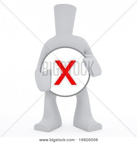 3d character and X sign