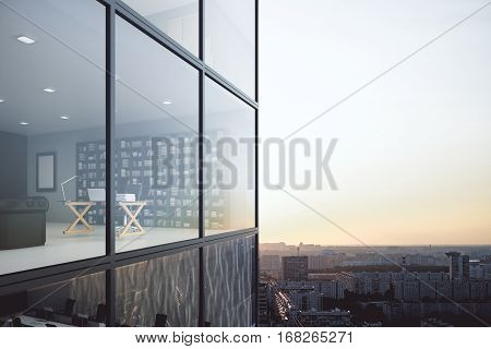 Contemporary Glass Building Exterior And See Through Office Interior On Modern Downtown City