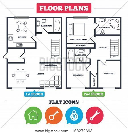 Bathroom Key Sign architecture plan with furniture. house floor plan. home key icon