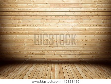 Grunge wooden room interior