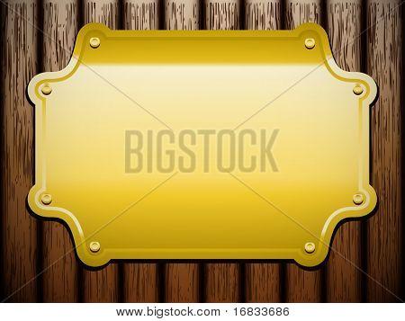 Golden plate on wooden background (vintage vector)