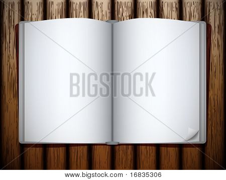 Book on wood table
