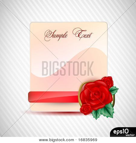 Paper card with red rose on ribbon