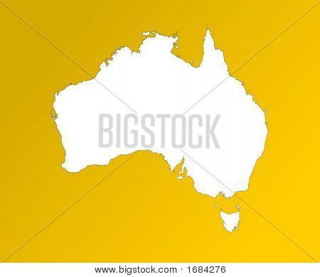 Map Of Australia On Orange Background