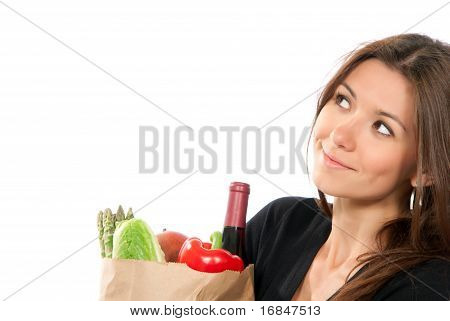 Close-up Woman Hold Shopping Paper Bag Full Of Vegetarian Groceries
