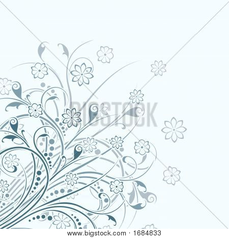 Abstract Background Witn Floral Scrolls