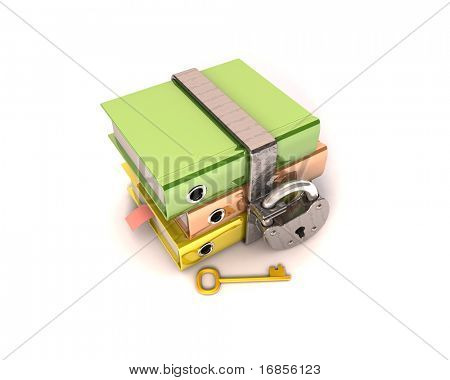 3D illustration of the image of a folder with the lock on a white background