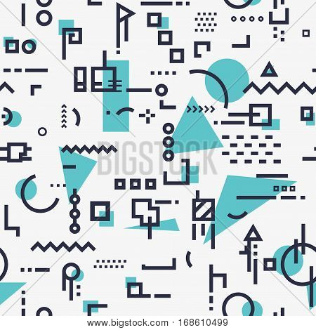 Linear seamless abstract background with black lines and dots with geometric shapes triangles squares and circles. Design for brochure flyer or book cover. Stock vector trandy illustration.