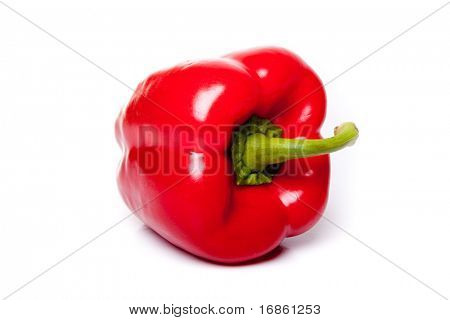 Ripe red peppers isolated on a white background
