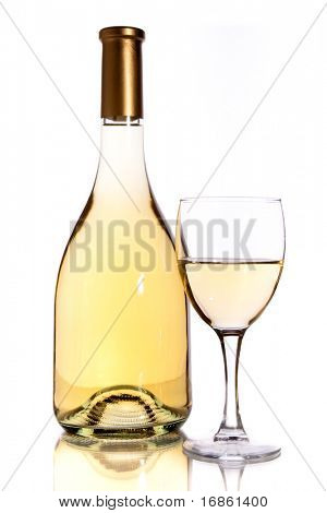 wine bottle and glass over white background