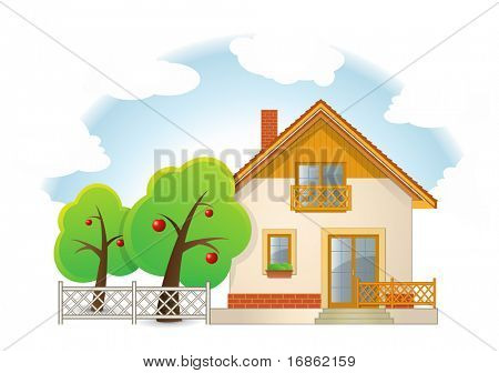 Highly detailed vector illustration of House with Garden
