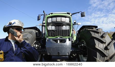 bulldozer and driver