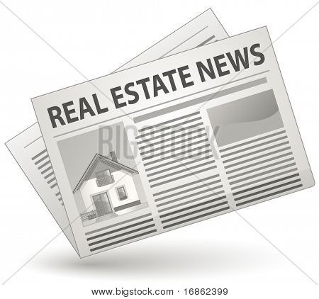 Real Estate News Concept. Vector illustration of newspaper icon.