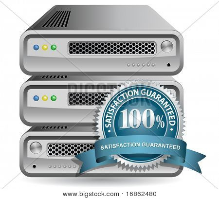 Network Equipment Icon with Satisfaction Guarantee Sign
