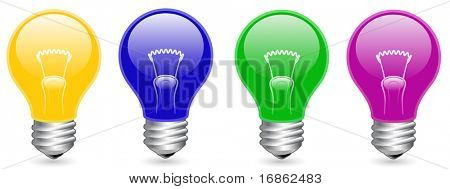 Color light bulb collection. Vector illustration.