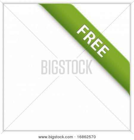 Green corner ribbon. Free Product. Free Download.