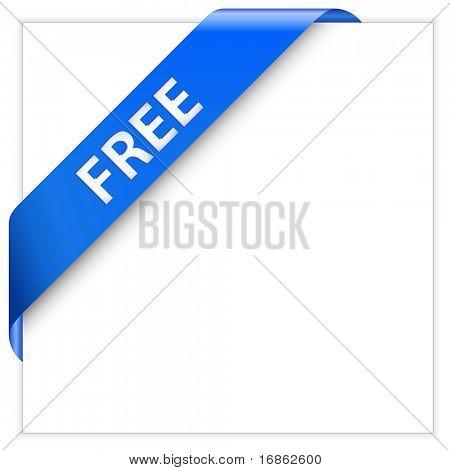 Blue corner ribbon. Free Product. Free Download.