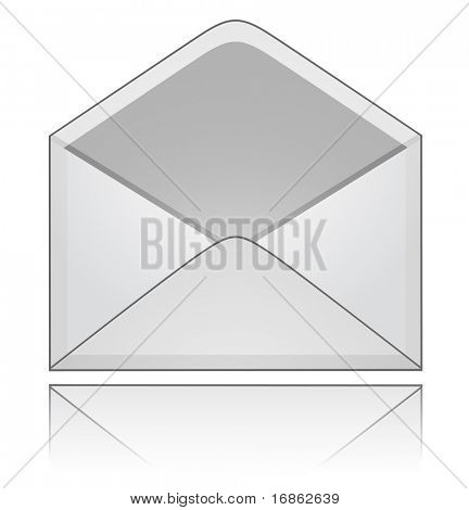 Empty envelope with reflection. Vector illustration