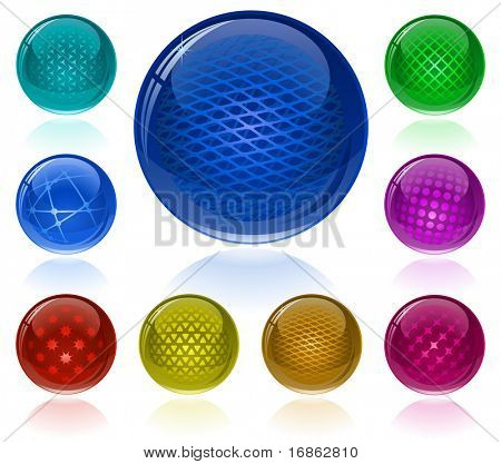 Glossy colorful abstract spheres with different patterns. Only simple gradient (transparency is not used)