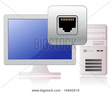 Computer and network socket. Global Communication Concept.