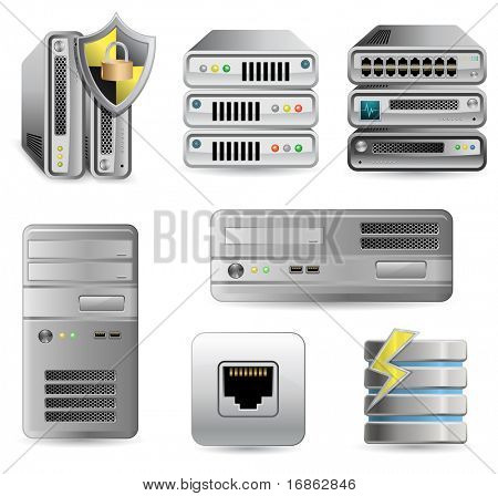 Netwerk apparatuur Set. Netwerkfirewall, Router, Switch of Server. Server verdediger.