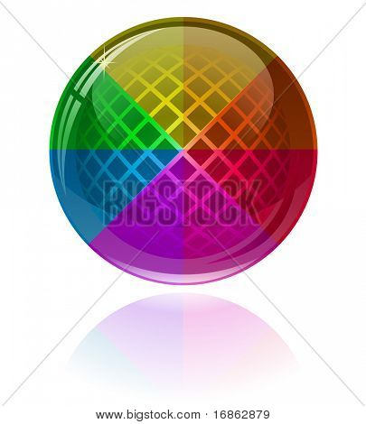 Glossy colorful abstract sphere with patterns. Only simple gradient used.