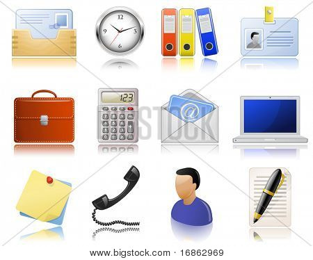Office supplies. Icon set. Highly detailed icons with a reflection. Raster version of vector illustration #46596502